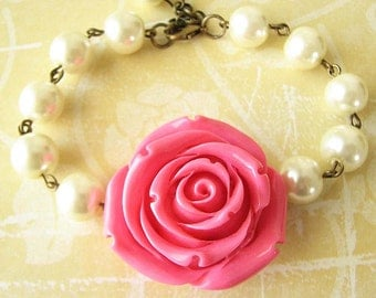 Bridesmaid Jewelry Flower Bracelet Beaded Bracelet Rose Jewelry Pink Jewelry Charm Bracelet Gift For Her