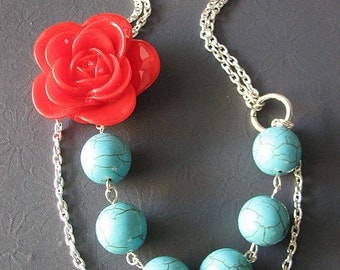 Flower Necklace Turquoise Jewelry Statement Necklace Multi Strand Necklace Bridesmaid Jewelry Red Rose Gift For Her