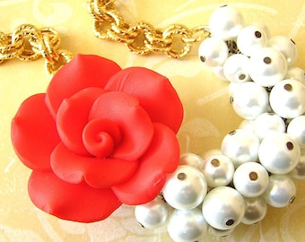 Statement Necklace Pearl Jewelry Flower Necklace White Bib Necklace Red Rose Necklace Pearl Necklace Woman Gift