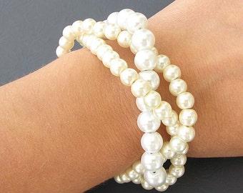 Bridal Jewelry Twisted Pearl Bracelet Wedding Jewelry Bridal Bracelet Bridesmaid Jewelry Girl Bracelet