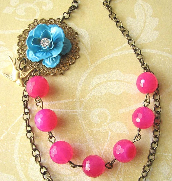 Bridesmaid Jewelry Flower Necklace Hot Pink Necklace Fuchsia Jewelry Turquoise Beaded Necklace Gift For Woman