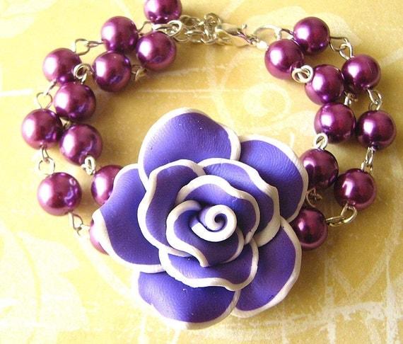 Flower Bracelet Purple Jewelry Dark Purple Bracelet Bridesmaid Jewelry Rose Bracelet Maid of Honor Gift  Garden Wedding Autumn Jewelry
