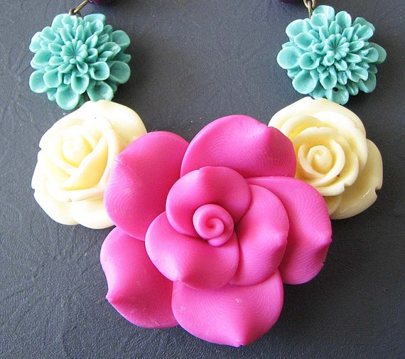 Statement Necklace Rose Jewelry Flower Necklace Pink Jewelry Bib Necklace Gift For Her