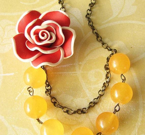 Bib Necklace Flower Necklace Yellow Jewelry Statement Necklace Red Jewelry Bridesmaid Jewelry Gift Ideas