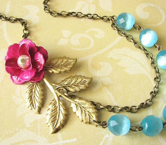 Statement Necklace Flower Necklace Gold Leaf Necklace Turquoise Jewelry Beaded Necklace Bib Necklace