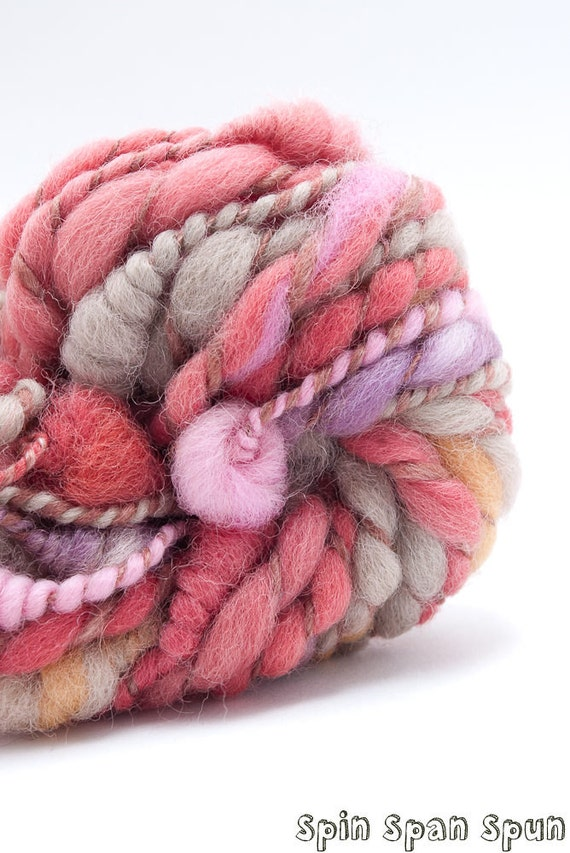Petals, Naturally Dyed wool, CoilSpun BeeHive Art Yarn, HandSpun HandDyed Yarn, 32yards