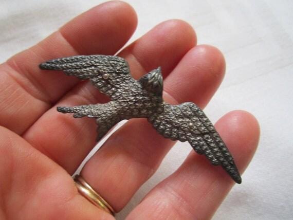 Reserved for Randi...Vintage 1920s Lovely Silver Bird in Flight  Bird Brooch