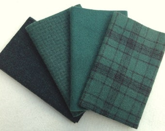 "Hand Dyed Wool Felt, EVERGREEN, Four 6.5"" x 16"" pieces in Dark Pine Green"