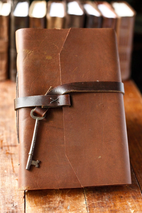 Large Leather Journal with Skeleton Key Closure
