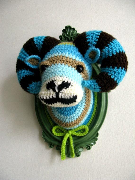 Crochet Ram Head In A Sage Green Frame