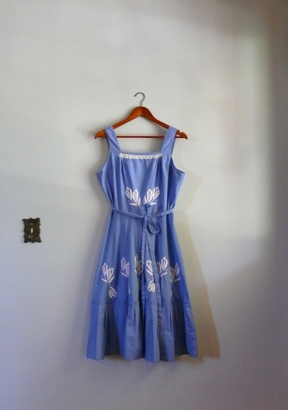 vintage 1970s Dress  // Embroidered Wrap Dress // Cornflower Blue