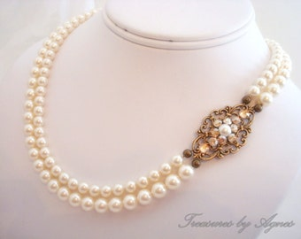 Bridal jewelry, Crystal Bridal necklace, Pearl Wedding necklace, Wedding jewelry, Swarovski crystal necklace, Vintage style necklace