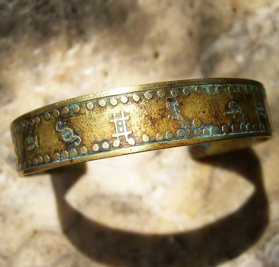 Etched Brass Cuff Alchemy Symbols No. 1