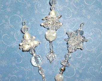 Ornament DANGLES Christmas Tree Ornaments Pearl, Crystal, White, Mixed Bead Jewels for your Tree (19)