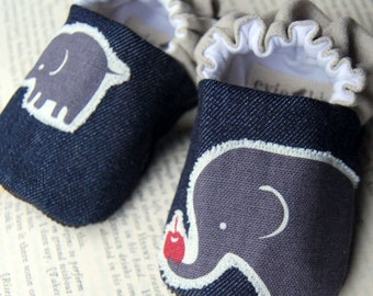 Elephant and Apple Reversible Baby Shoes
