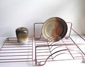 1970s Copper Dish Rack. Copper Kitchen Decor. Industrial Meets Cottage Chic