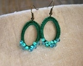 Emerald Green and Aqua Blue Beaded Oval Crochet Earrings So Chic. Lightweight Jewelry