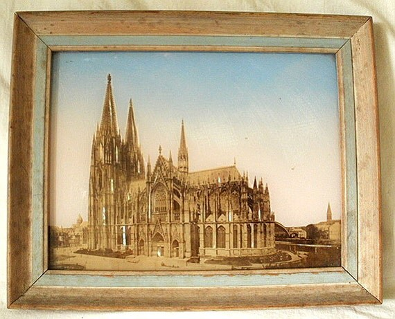 Early 1900s Sepia Photo Collage of Rheims Cathedral, France, with Mother of Pearl Accents