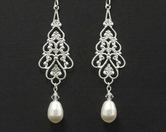 Long Chandelier Earrings -- Wedding Jewelry, Silver Filligree Chandeliers, Pearl Bridal Earrings, Swarovski Crystal Pearl Jewelry -- PARFAIT