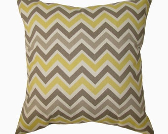 CLEARANCE - Chevron Throw Pillow - Zoom Zoom Sunny & Natural Decorative Throw Pillow Free Shipping