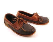 Distressed Boat Shoes Vintage 1980s  Brown and Blue Leather Boat Shoes size Euro 39 40
