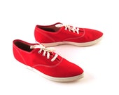 Vintage Keds Sneakers 1960s Red Women's size 7 Rare pointed toe Deadstock