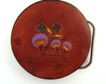 Vintage Belt buckle 1970s Mushroom Leather and Brass tone