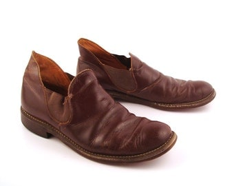 Brown Ankle Boots Vintage 1960s Distressed Leather Short Romeos Men's 8