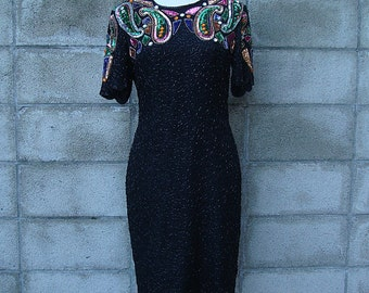 Sequin Beaded Dress Vintage 1980s Party Evening Cocktail Stenay Baroque Jeweled