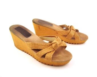 Rapallo Wedge Sandals Vintage 1970s Shoes size 6