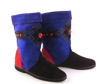Boots Colorblock  Suede Vintage 1980s Blue Red Black Slouch Women's