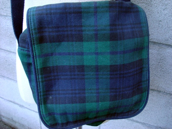 Land's End Purse Vintage 1980s Plaid Satchel