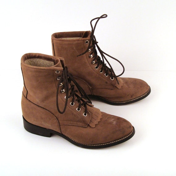 Brown Roper Boots Vintage 1980s Distressed  Roper Leather Brown Granny Lace up Boots Men's 4 D