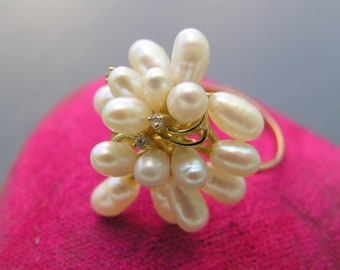 Vintage 14kt Gold Cocktail Ring  Diamond  Cultured Pearl Fine  jewelry