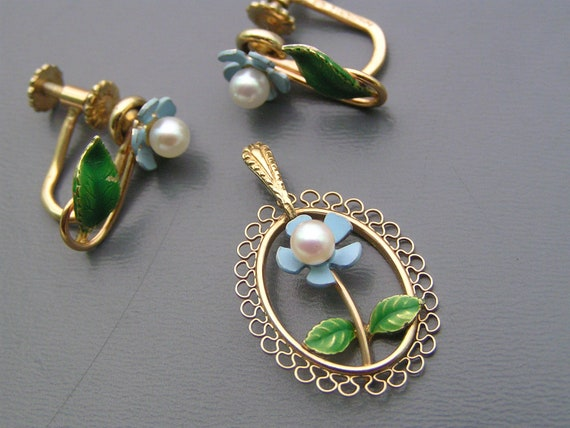 Vintage Krementz Forget Me Not Enamel Rolled Gold Earrings Pendant Necklace