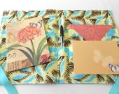 SALE  Stationery and Pen Set with Note Cards, Envelopes and Note Pad in Amy Butler Fabric