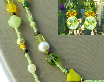 Double necklace/earring set of mixed bright lime/yellow Czech, glass and seed beads