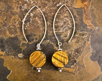 Handcrafted Rough Tiger's Eye and Sterling Silver Earrings (E206)