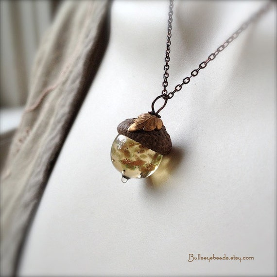 Mini Glass Acorn Necklace - Goldstone Sparkle with Vintage Metal Leaf by Bullseyebeads