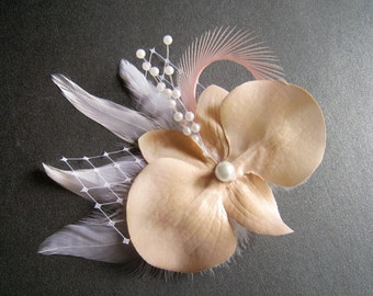 Prom, wedding peach color orchid hair clip white feathers pearls pink peach hair clip orchid head piece pearl spray vintage inspired garden