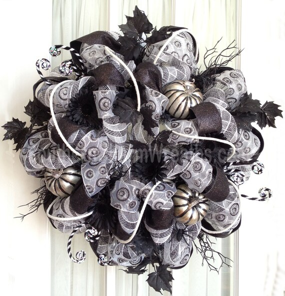 Deco Mesh Sophisticated HALLOWEEN Wreath Black White Silver or Wall Wreath