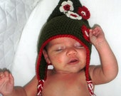 SALE Whimsical Crochet Elven Baby Hat, Christmas Elf Hat with earflaps, ready to ship.