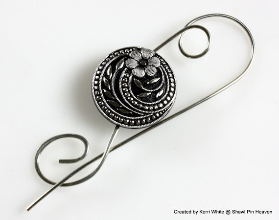 1890s Style Button Shawl Pin. Scarf Pin or Brooch