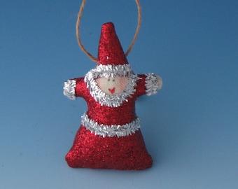 Santa Ornament, Tiny Santa Claus Ornaments, Red Fairy , Fairy