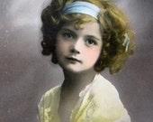 Antique girl postcard, with headband, 1910s