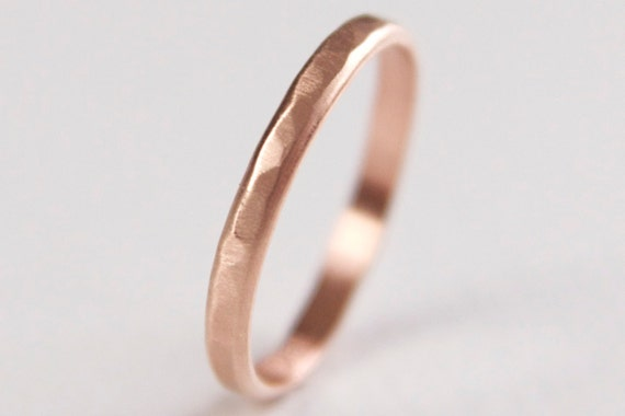 14k Rose Gold Textured Ring - Recycled Wedding Band - Modern Ring - Matte Finish Ring - Rose Gold Stacking Ring - Rose Gold Wedding Band