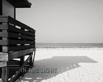 READY To SHIP - Lido Beach Lifeguard House 2- Sarasota, FL -Fine Art Photograpy - Black & White - 8x10, 11x14, other sizes available - fPOE