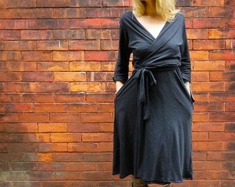 Long Sleeve Black Women's Wrap Dress with Pockets |Plus Size Wrap Dress|Maternity Wrap Dress|Long Wrap Dress|V Neck Dress|Adjustable Dress|