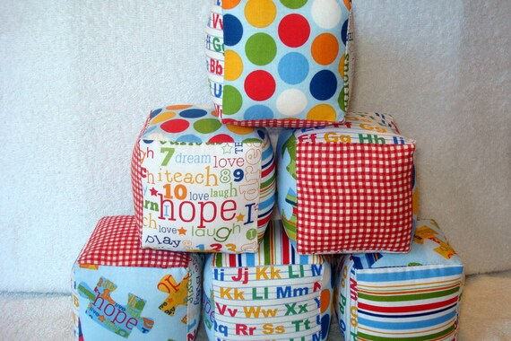 Pieces of Hope Autism Awareness Fabrics Soft and Cuddly Fabric Jingle Baby Blocks set of 6