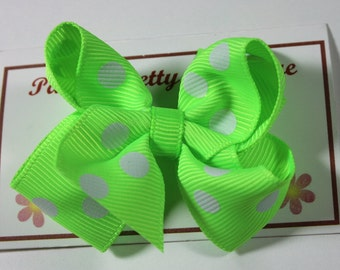 "2.25"" Neon Green & White Polka Dot Boutique Hair Bow-Toddler Hair Bow-Child Hair Bow-Boutique Bow"